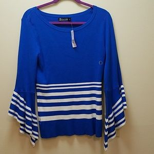 New York and Company Bell Sleeve Striped Sweater
